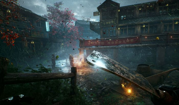 The image showcases a village environment with the player holding a meat cleaver.