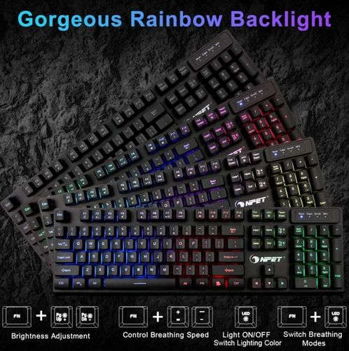 The image shows the range of colors the backlight to the keyboard offers, as well as controls to change the brightness, breathing mode, and more.