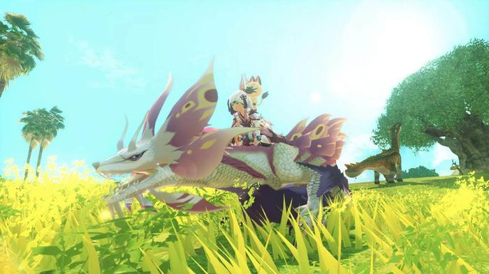 A rider riding a Mitzutsune in Monster Hunter Stories 2
