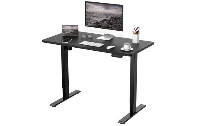 best standing desk, product image of a black desk