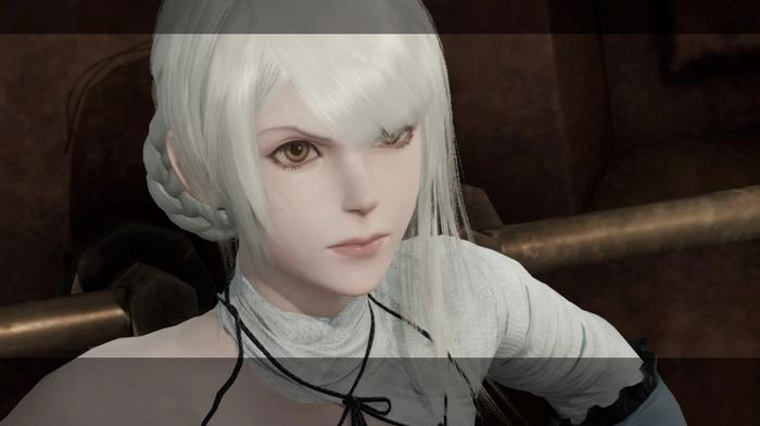 A screenshot from NieR Replicant showing a character backed up against a wall.