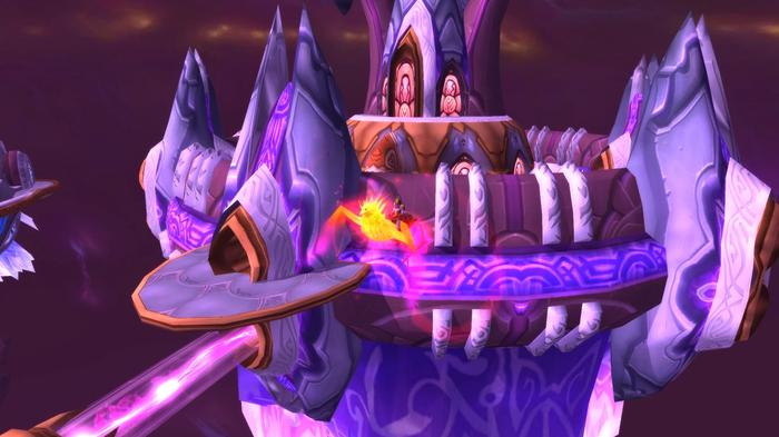 A player riding the Ashes of Alar mount outside of Tempest Keep.