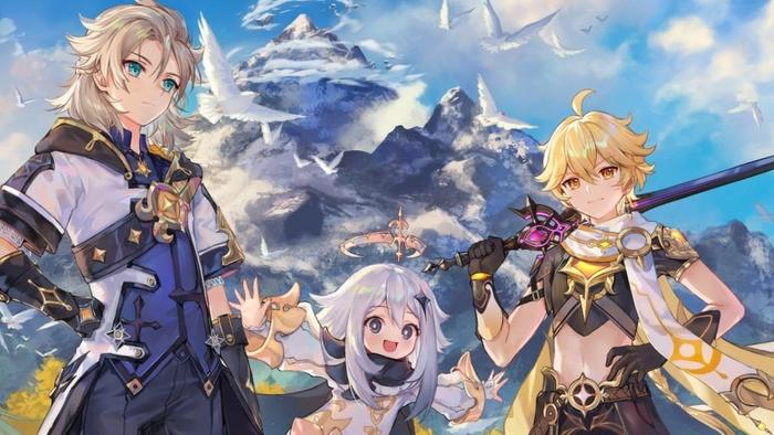 Genshin Impact character's Albedo, Paimon, and the Traveler, standing in front of Dragonspine mountain.