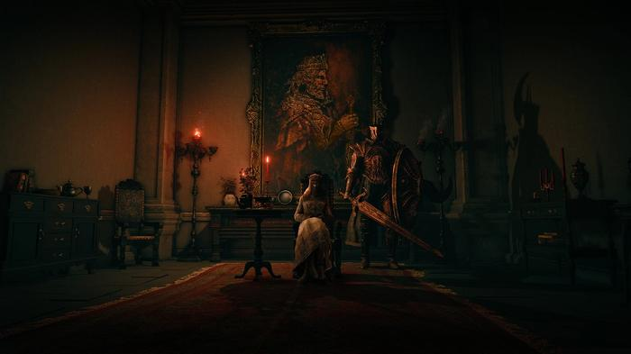 """<img src=""""ER7.jpg"""" alt=""""a woman sits on a chair with a knight holding a sword and shield besides her"""">"""