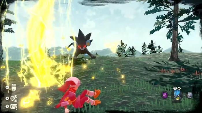 A Luxray with red eyes unleashes a charge of electricity at a dodging trainer.
