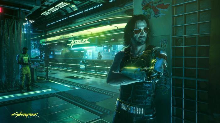 Cyberpunk 2077 screenshot of Jonny Silverhand standing against a wall