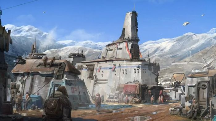 Concept artwork for Starfield. There are people walking around a sci-fi area.