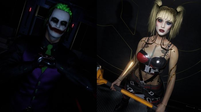 The Joker and Harley Quinn Mods displayed side by side