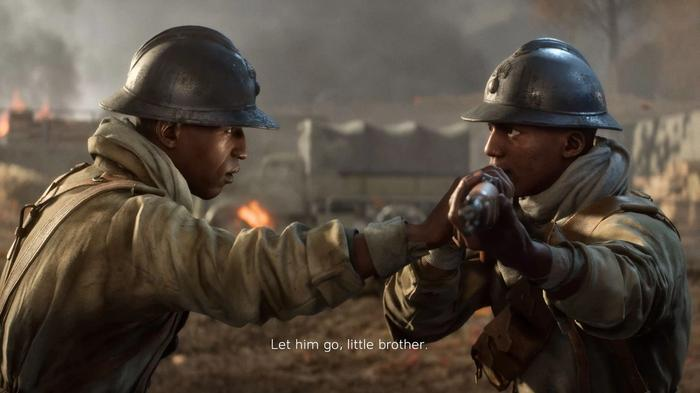 A man attempts to disarm his brother during a war.