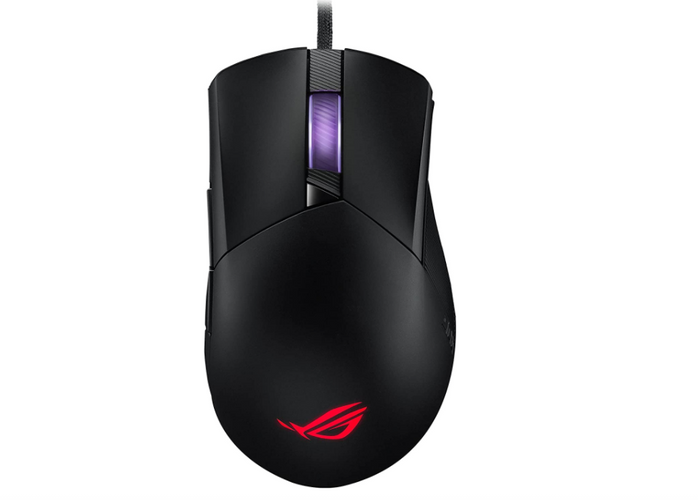 best mouse for fps, wired black mouse with illuminated logo and scroll wheel