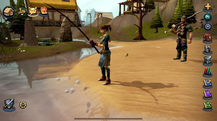A woman fishing near a village in RuneScape