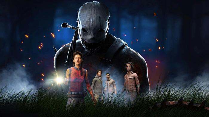 Screenshot from Dead by Daylight Mobile, with a masked killer looming over four survivors