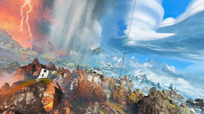 A stunning blue sky over Apex Legends' World's Edge map is tarnished by one grim cloud and a strike of red lightning.