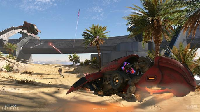 Halo Infinite fighters and vehicles battle on a desert.