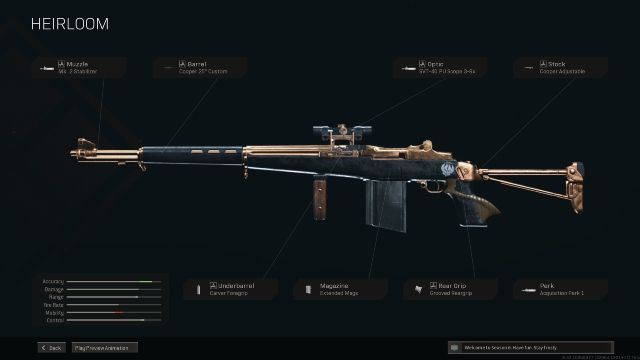 M1 Garand Heirloom Warzone Blueprint Attachments