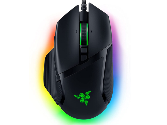 best mouse for FPS, product image of a black gaming mouse with RGB lighting