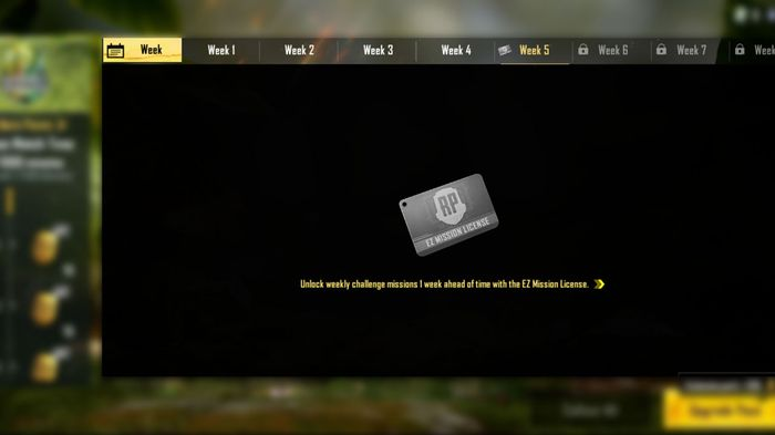 How to reach the EZ Mission License screen to purchase it in PUBG Mobile.