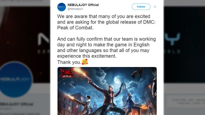 A now-deleted tweet showing NebulaJoy and Capcom have plans to translate and release Devil May Cry: Peak of Combat in English and other languages.