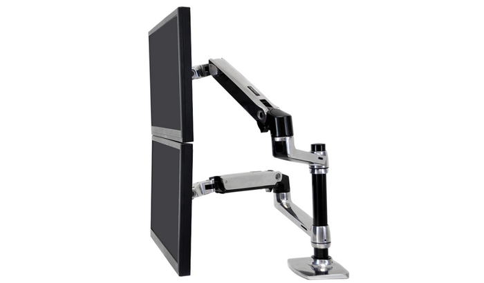best dual monitor arm, product image of a black and silver stacking dual monitor arm
