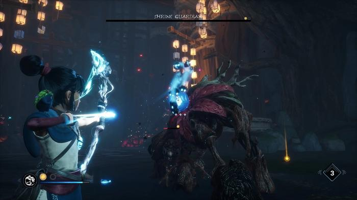 Kena pointing her Bow at a downed Shrine Guardian
