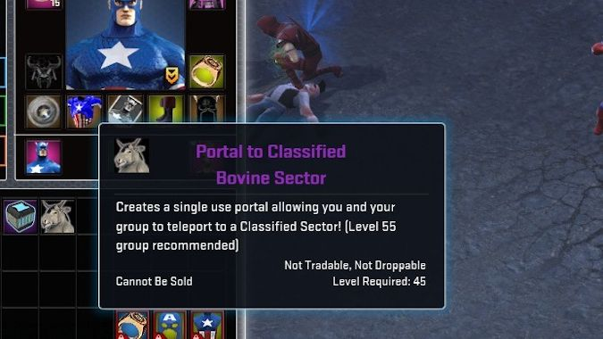 Marvel Heroes Portal to Classified Bovine Sector