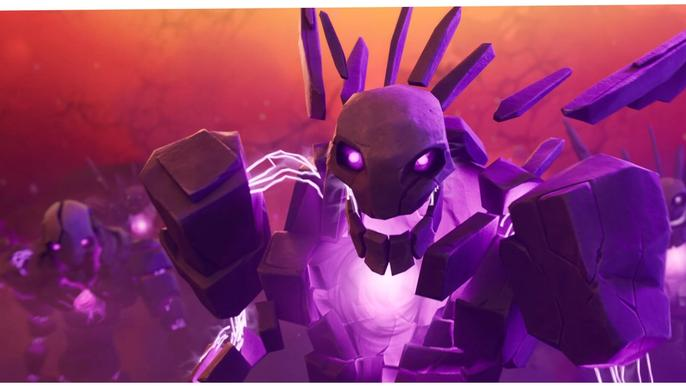 This image features a purple stone zombie from Fortnite Chapter 2 Season 8