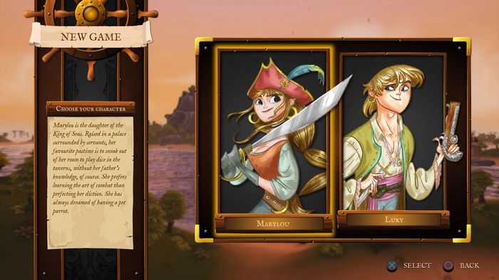 The character select screen in King of Seas, boy and girl