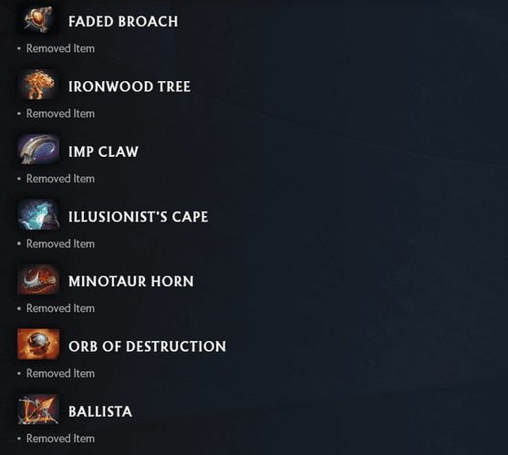 This image shows a list of all the removed neutral items from DOTA 2 after update 7.30's release.