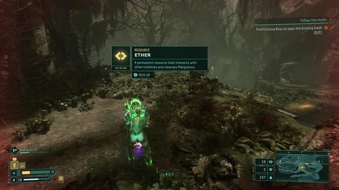 A screenshot showing an Ether item in Returnal