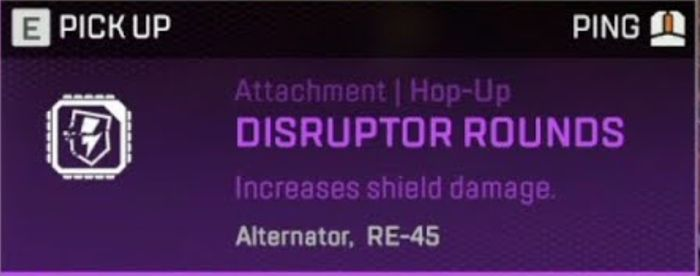 A screenshot from Apex Legends of the Disruptor Rounds hop-up, a purple background containing a description.