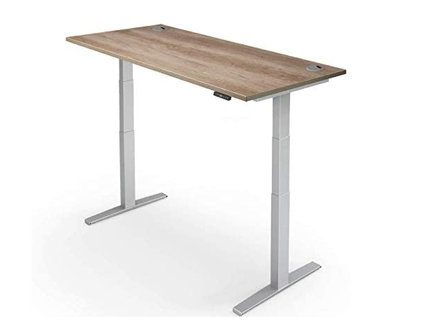 best standing desk, product image of a grey and wood-topped standing desk