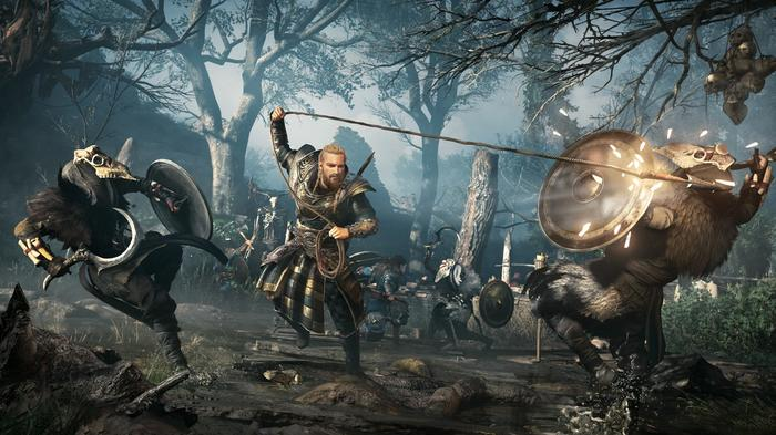 New screenshot from Assassin's Creed Valhalla: Siege of Paris DLC showing Eivor attacking two enemies.