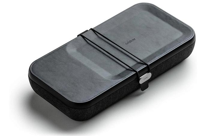 Best wireless chargers Orbit Key, product image of a black case with indent on the top with leather finish. Textured material on the bottom half.