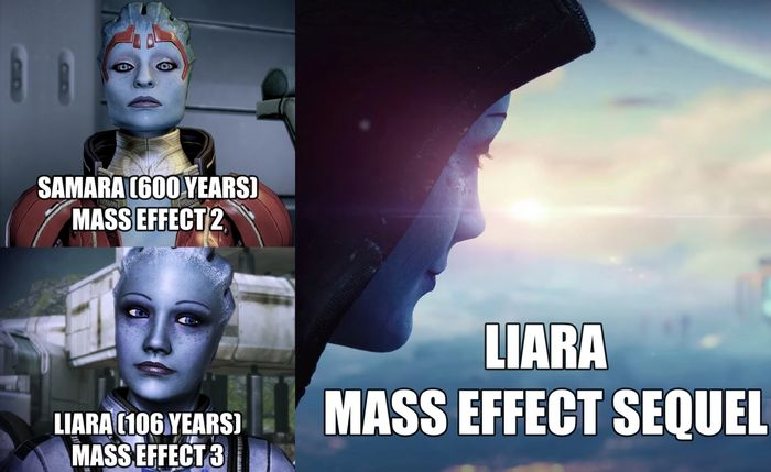 Three Asari from Mass Effect. Samara on top left, Liara young is bottom left, and older liara is on the right