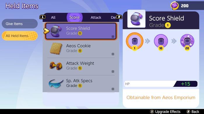 The Held Item upgrade screen in Pokémon Unite.