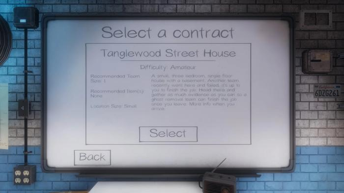 The contract, also known as difficulty, selection screen.