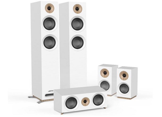 best speakers for home theatres, product image of a white 7.1 home theatre speaker system