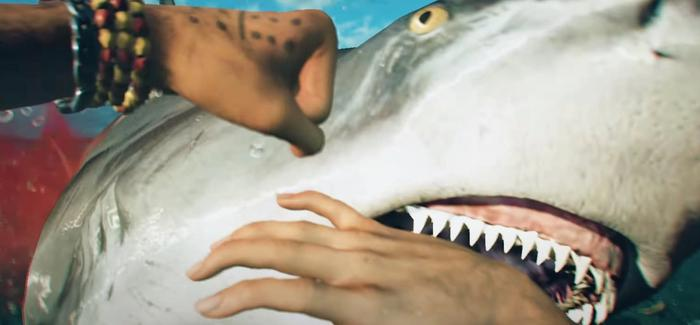 Far Cry 6's Dani Rojas' fights with a reef shark that is attacking them.