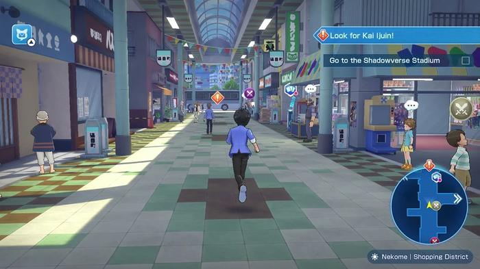 Screenshot from Shadowverse: Champion's Battle showing the protagonist exploring a shopping mall.