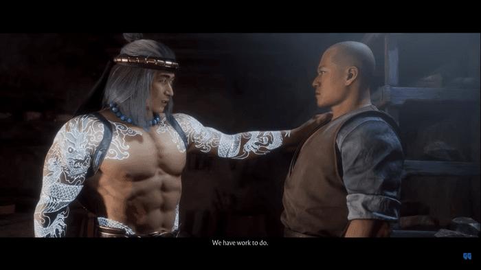 Mortal Kombat 11 Aftermath screenshot showing Lord Liu Kang and Kung Lao