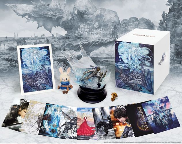 The image shows the Collector's Box contents, which includes a Special Art Box, Paladin Figure, Art Collection, Frame Set, Azem Pin, and Loporrit Mini Plush.