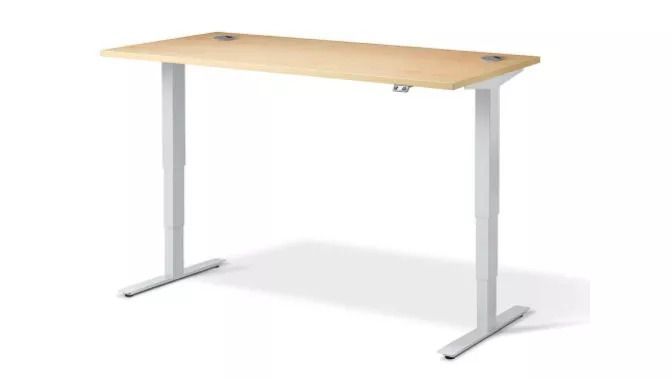 best standing desk, product image of a grey desk with beech wooden top