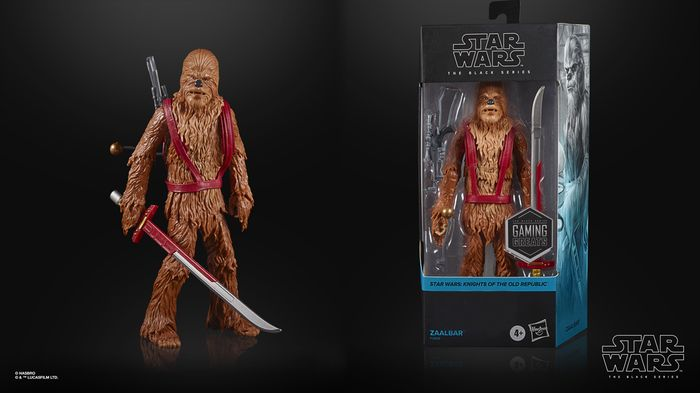 Two pictures of the Star Wars KOTOR collectible put together seamlessly.