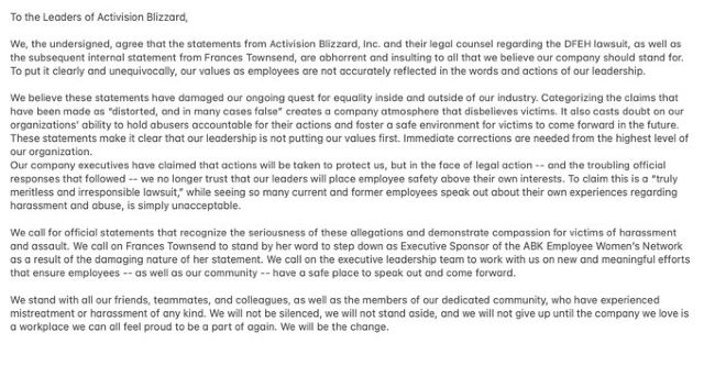 Activision Blizzard Open Letter To Company Response To Reply To Lawsuit