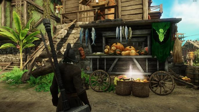 A player looking over a food cart, filled with fruit and vegetables.