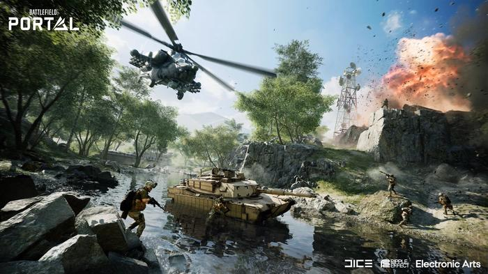 A helicopter soars, with a tank and soldiers below.