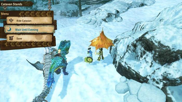 Visiting a Catavan to change the time of day in Monster Hunter Stories 2