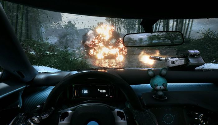 The image shows the player in a car, with an explosion in front of them.