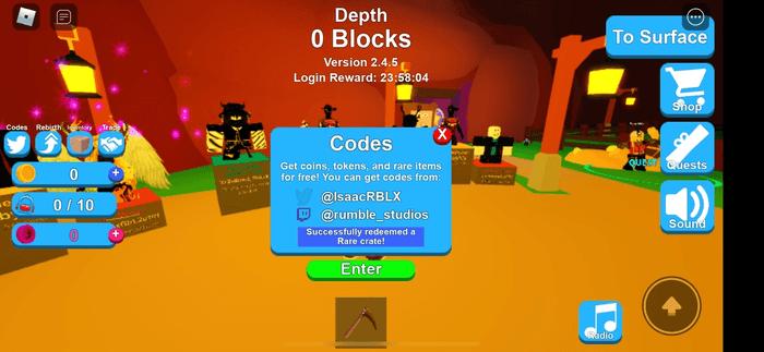 Mining Simulator screengrab showing the blue Redeem Code menu