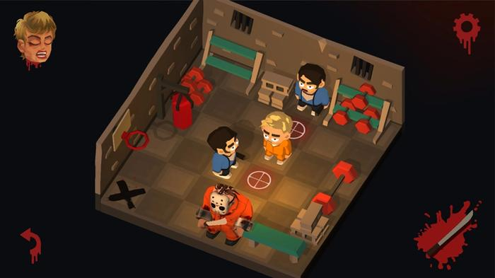 Screenshot from Friday the 13th: Killer Puzzle, showing a pixellated Jason plotting on killing three teenage victims